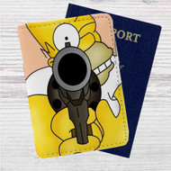 Homer The Simpsons Custom Leather Passport Wallet Case Cover