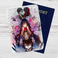 Mikasa Ackerman Eren Jaeger Shingeki no Kyojin Custom Leather Passport Wallet Case Cover