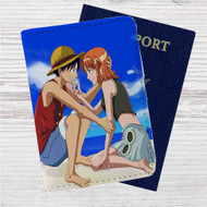 Monkey D Luffy and Nami One Piece Love Custom Leather Passport Wallet Case Cover