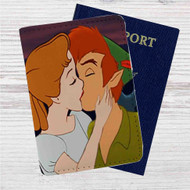 Peter Pan and Wendy Kiss Disney Custom Leather Passport Wallet Case Cover
