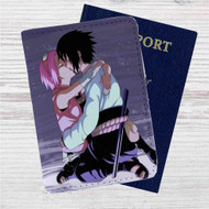 Sakura Haruno Sasuke Uchiha Naruto Shippuden Custom Leather Passport Wallet Case Cover