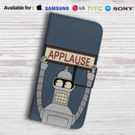 Futurama Bender Applause Custom Leather Wallet iPhone 4/4S 5S/C 6/6S Plus 7| Samsung Galaxy S4 S5 S6 S7 Note 3 4 5| LG G2 G3 G4| Motorola Moto X X2 Nexus 6| Sony Z3 Z4 Mini| HTC ONE X M7 M8 M9 Case