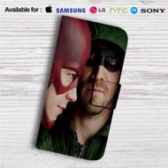 Arrow The Flash Custom Leather Wallet iPhone 4/4S 5S/C 6/6S Plus 7  Samsung Galaxy S4 S5 S6 S7 Note 3 4 5  LG G2 G3 G4  Motorola Moto X X2 Nexus 6  Sony Z3 Z4 Mini  HTC ONE X M7 M8 M9 Case