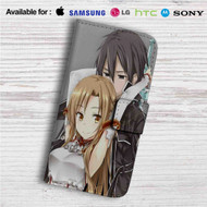 Asuna x Kirito Sword Art Online Custom Leather Wallet iPhone 4/4S 5S/C 6/6S Plus 7| Samsung Galaxy S4 S5 S6 S7 Note 3 4 5| LG G2 G3 G4| Motorola Moto X X2 Nexus 6| Sony Z3 Z4 Mini| HTC ONE X M7 M8 M9 Case