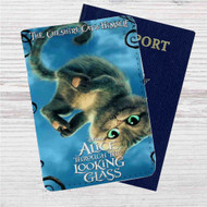 Alice Through the Looking Glass The Cat Cheshire Custom Leather Passport Wallet Case Cover