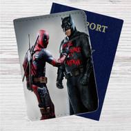 Batman and Deadpool Custom Leather Passport Wallet Case Cover