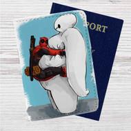 Deadpool Hug Baymax Custom Leather Passport Wallet Case Cover