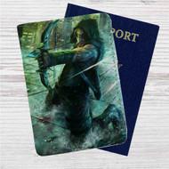 Green Arrow Custom Leather Passport Wallet Case Cover