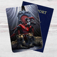 Harley Quinn Custom Leather Passport Wallet Case Cover