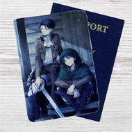 Levi and Eren Attack On Titan Custom Leather Passport Wallet Case Cover