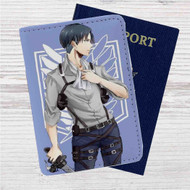 Levi Attack On Titan Custom Leather Passport Wallet Case Cover