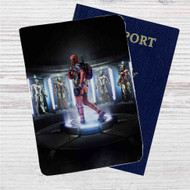 Deadpool in Iron Man Laboratory Custom Leather Passport Wallet Case Cover
