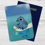 Disney Stitch Custom Leather Passport Wallet Case Cover