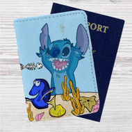 Dory and Stitch Disney Custom Leather Passport Wallet Case Cover