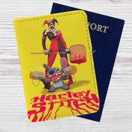 Harley Quinn and Stitch Custom Leather Passport Wallet Case Cover
