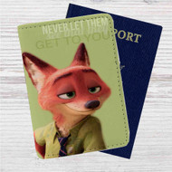 Nick Wilde Quote Custom Leather Passport Wallet Case Cover