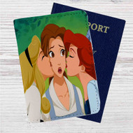 Princess Aurora, Ariel and Belle Disney Custom Leather Passport Wallet Case Cover