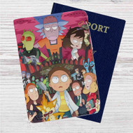 Rick and Morty City Custom Leather Passport Wallet Case Cover