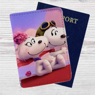 Snoopy Meet Fifi Custom Leather Passport Wallet Case Cover