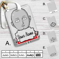 Saitama Sensei One Punch Man Oppai Custom Leather Luggage Tag