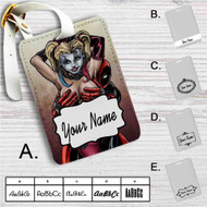Sexy Harley Quinn Deadpool Custom Leather Luggage Tag