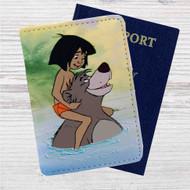 The Jungle Book Baloo and Mowgli Custom Leather Passport Wallet Case Cover