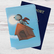 The Peanuts Snoopy Flying Custom Leather Passport Wallet Case Cover