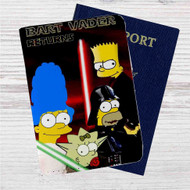 The Simpsons Bart Vader Star Wars Custom Leather Passport Wallet Case Cover