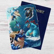 Water type Pokémon Custom Leather Passport Wallet Case Cover