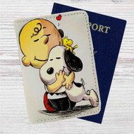Woodstock, Snoopy & Charlie Brown The Peanuts Custom Leather Passport Wallet Case Cover
