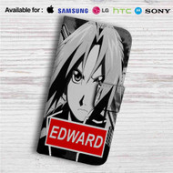 Edward Elric Fullmetal Alchemist Brotehrhood Custom Leather Wallet iPhone 4/4S 5S/C 6/6S Plus 7| Samsung Galaxy S4 S5 S6 S7 Note 3 4 5| LG G2 G3 G4| Motorola Moto X X2 Nexus 6| Sony Z3 Z4 Mini| HTC ONE X M7 M8 M9 Case