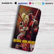 Natural Born Killers Deadpool Harley Quinn Custom Leather Wallet iPhone 4/4S 5S/C 6/6S Plus 7| Samsung Galaxy S4 S5 S6 S7 Note 3 4 5| LG G2 G3 G4| Motorola Moto X X2 Nexus 6| Sony Z3 Z4 Mini| HTC ONE X M7 M8 M9 Case