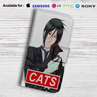 Sebastian Black Butler Cats Custom Leather Wallet iPhone 4/4S 5S/C 6/6S Plus 7| Samsung Galaxy S4 S5 S6 S7 Note 3 4 5| LG G2 G3 G4| Motorola Moto X X2 Nexus 6| Sony Z3 Z4 Mini| HTC ONE X M7 M8 M9 Case
