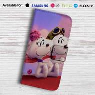 Snoopy Meet Fifi Custom Leather Wallet iPhone 4/4S 5S/C 6/6S Plus 7  Samsung Galaxy S4 S5 S6 S7 Note 3 4 5  LG G2 G3 G4  Motorola Moto X X2 Nexus 6  Sony Z3 Z4 Mini  HTC ONE X M7 M8 M9 Case