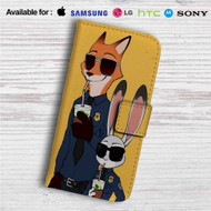 Zootopia Nick and Judy Police Custom Leather Wallet iPhone 4/4S 5S/C 6/6S Plus 7| Samsung Galaxy S4 S5 S6 S7 Note 3 4 5| LG G2 G3 G4| Motorola Moto X X2 Nexus 6| Sony Z3 Z4 Mini| HTC ONE X M7 M8 M9 Case