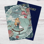 Alice in Wonderland Disney Custom Leather Passport Wallet Case Cover