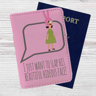 Bob's Burger Louise Belcher Beautiful Hideous Face Custom Leather Passport Wallet Case Cover