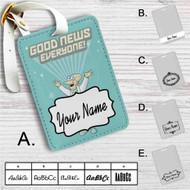 Futurama Good News Everyone Custom Leather Luggage Tag