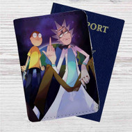 Rick and Morty Middle Finger Custom Leather Passport Wallet Case Cover