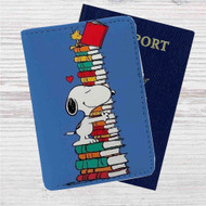 Snoopy and Woodstock Reading Book Custom Leather Passport Wallet Case Cover