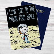 Snoopy Love Moon Custom Leather Passport Wallet Case Cover
