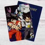Vegeta, Goku, Whis, Lord Beerus, and Frieza Custom Leather Passport Wallet Case Cover