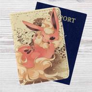 Flareon Pokemon Custom Leather Passport Wallet Case Cover