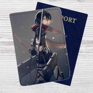 Mikasa Ackerman Attack on Titan Sword Custom Leather Passport Wallet Case Cover
