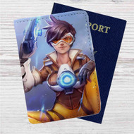 Overwatch Tracer Custom Leather Passport Wallet Case Cover