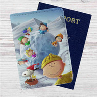 Snoopy The Peanuts Gang With Snowball Custom Leather Passport Wallet Case Cover