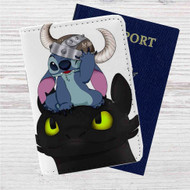 Stitch and Toothless Custom Leather Passport Wallet Case Cover
