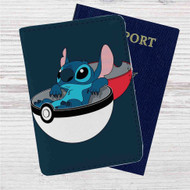Stitch in Pokedex Ball Custom Leather Passport Wallet Case Cover