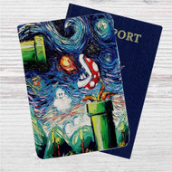 Super Mario Starry Night Custom Leather Passport Wallet Case Cover