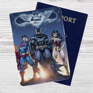 Superman Batman Wonder Woman Custom Leather Passport Wallet Case Cover